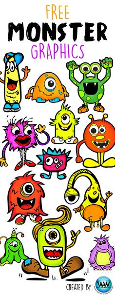 FREE Monster Clip Art!! Ashley got inspired by our Monster Book Fair theme this year and decided to make some graphics to go along with it for FREE. Hope you enjoy! Images are png files all 300 dpi for high quality, clear, crisp printing. #monstertheme #monsterbookfair #scholasticbookfairs #watsonworksedu #elementarylibrary #mediaspecialist