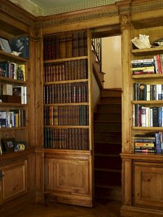 Solid Wood Home Library Stunning Interior Design Ideas Hidden Door.This is my dream home library!