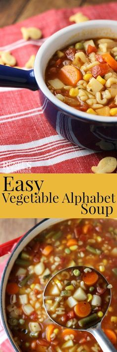 Vegetable Alphabet Soup by Renee's Kitchen Adventures - easy soup recipe full of vegetables and ABC pasta shapes