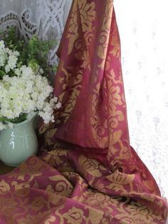 French Chateau Brocade Drapery Panel Piece Antique Early 1900s Vintageblessings