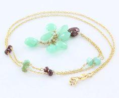 Estate 14 Karat Yellow Gold Garnet Green Chalcedony Charm Necklace Fine Jewelry Used $395