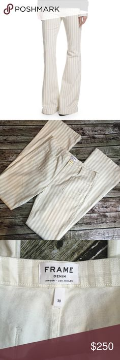 """Frame Denim Le Bardot Striped Flare Jeans Cypress Frame Denim Le Bardot Striped Flare Jeans Cypress, new without tag. Size 30. Inseam approximately 34 1/2"""". Style worn by Heidi Klum. Frame Denim Jeans Flare & Wide Leg"""