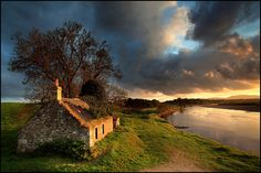 A beautiful sunset frames these ruins in Scotland. So serene...