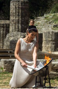The ancient ritual of lighting the Olympic Flame, Olympia, Greece