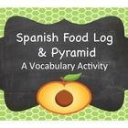 Cute food log for students to record what they eat, a food pyramid and questions to look at their diet