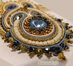 Autumn in Tuscany   Soutache Necklace  Made in by AmarantaBeads