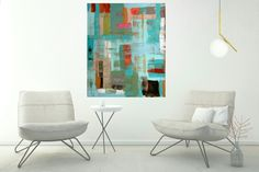 Abstract painting, original modern abstract painting on canvas, large abstract painting 30 x 36, home decor, wall art, artwork by SageFineArt on Etsy