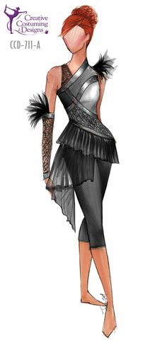 Creative Costuming and Designs - Online Catalog - CCD-711-A DESCRIPTION: one shoulder tight leg unitard - capri length, detail continues to back, strap w/clip, one gauntlet BASE PRICE: $134.50