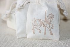 Vintage carnival theme muslin gift bags CaRouseL by papermoonbyKAT, $12.00