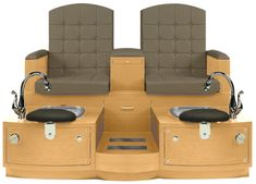 A double pedicure bench with cushioned seats, whirlpool foot bath, pull out spray faucet, padded armrests. Spa Pedicure Chairs, Pedicure Spa, Spa Furniture, Spa Chair, Salon Equipment, Salon Business, Custom Cabinetry, Foot Rest, Floor Chair