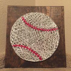 Baseball / Softball String Art MADE TO ORDER by StringsbySamantha Baseball Crafts, Baseball Boys, Baseball Letters, Baseball Decorations, Baseball Nursery, Softball, Crafts To Sell, Crafts For Teens, Kids Crafts