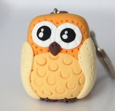 Yellow Owl Keychain by MissSnowyOwl on Etsy