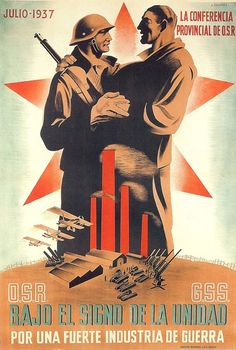 By José Briones (1905-1975), 1937, Republican poster Spanish Civil War. (Spain)