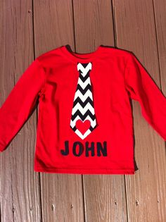 Custom boutique children's clothing. Boys personalized applique Valentine tie shirt. Black white chevron. Red heart. By EverythingSorella