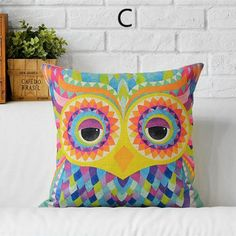 Colorful peacock throw pillows for couch creative owl sofa cushions