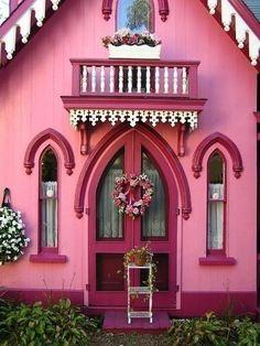 Pink cottage doors
