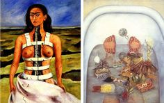 Frida Kahlo - Broken Column, 1944 (Left) ----- What the Water Gave Me, 1938 (Right)