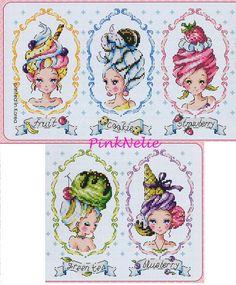Choose 1 - Counted Cross Stitch Original Design Pattern Chart Large size Chart --------------------------------------- ♥Ice Cream Ladies - G76 W 255count × H 88count --------------------------------------- ♥ Ice Cats - G82 W 270count × H 79count ---------------------------------------