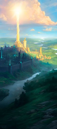 Sages of Ioun by *noahbradley on deviantART Fantasy landscape, beam of light from heavens sky to castles on ground Fantasy City, Fantasy Places, Sci Fi Fantasy, Fantasy World, Fantasy Landscape, Landscape Art, Fantasy Art Landscapes, Fantasy Setting, Illustration