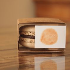 A Bioteafull single chocolate macaron box.