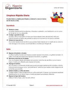 Orden en casa: plan básico para la limpieza diaria rápida [checklist]  http://www.organizartemagazine.com/orden-en-casa-plan-basico-para-la-limpieza-diaria-rapida-checklist/