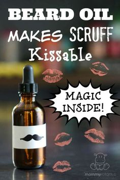 Make your man's beard kissably smooth again with this DIY beard oil recipe! It takes just two ingredients to make homemade beard oil, and I've included three manly scent variations for you to try. Homemade Beard Oil, Diy Beard Oil, Oil For Beard, Natural Beard Oil, Doterra, Essential Oil Blends, Essential Oils, Barba Grande, Limpieza Natural