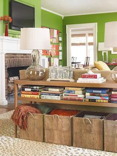 Bring storage to your living room with furniture that pulls double duty. Try a console that doubles as a sofa table and storage. More storage tips and tricks: http://www.bhg.com/blogs/better-homes-and-gardens-style-blog/month-of-storage/?socsrc=bhgpin012813MOSstorageconsole