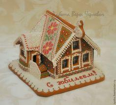 Купить Большой пряничный домик - эксклюзивный подарок - бордовый, пряничный домик, пряник, пряники
