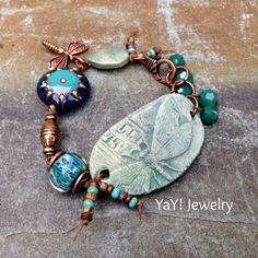 Earthy Dragonfly Bracelet Knotted Bracelet Artisan by YaYJewelry