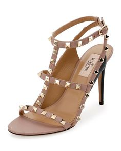 VALENTINO ROCKSTUD COLORBLOCK CAGED 100MM SANDAL, NERO/POUDRE. #valentino #shoes #sandals