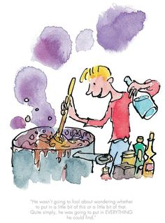 He Put In Everything He Could Find - Official Collector Print by Quentin Blake from Roald Dahl's George's Marvellous Medicine. Quentin Blake Prints, Quentin Blake Illustrations, Medicine Illustration, Children's Book Illustration, Book Illustrations, Find Art, Georges Marvellous Medicine, Roald Dahl Day, Art Prints Online