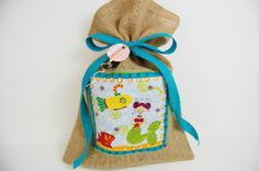 Reusable Girls Birthday Gift Bag, Burlap Fabric Gift Bag, Mermaid Theme Birthday Gift Bag, Small