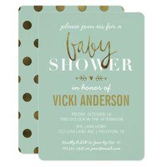 299 best elegant baby shower invitations images on pinterest in 2018 glam faux gold modern baby shower invitations filmwisefo