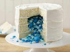 Surprise cake for baby shower (reveal gender color)