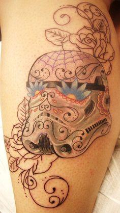 Pretty Stormtrooper sugar skull tattoo