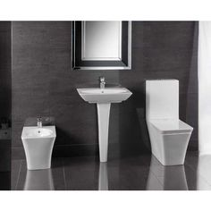 Modern His & Hers Bathroom Suite RAK Opulence Toilet With His & Hers Basins The Rak Opulence is a complete collection containing many unique features including a shrouded one-piece cistern for the WC and basins. Modern Toilet, Modern Bathroom, Basin Design, Natural Curves, Bathroom Remodeling, Remodeling Ideas, Range, Basins, Eye