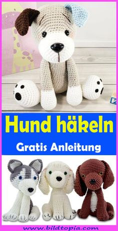 Amigurumi Hund häkeln – kostenlose DIY AnleitungIn this free tutorial, I will show you how to crochet a cute Amigurumi dog yourself. The crochet pattern is easy to rework even for beginners. The crocheted dog looks great as a cuddly toy, key ring, l Bunny Crochet, Crochet Gratis, Free Crochet, Tunisian Crochet, Amigurumi Free, Crochet Amigurumi, Crochet Toys, Knitting Room, Free Knitting