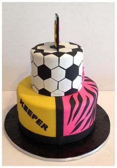 This cake was for a sister and brother. The boy is a goal keeper and the girl like flowers pink and zebra. Both liking soccer but the mom wanted one cake. So came up with this. They each have their own side. Actually kinda like it.