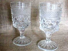 Vintage Wexford Glass Wine Goblets by TheNorieCollection on Etsy