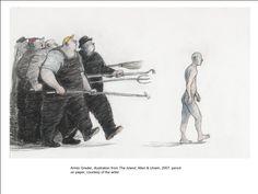 Armin Greder, illustration from The Island, Allen & Unwin, 2007, pencilon paper, courtesy of the artist