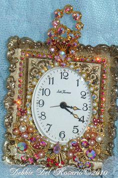 A Beautiful Pink Rhinestone Jeweled  Seth Thomas Vintage Alarm Clock-Phinney, Walker, Clock, Vintage, Pink, Rhinestones, Alarm, Vintage, Victorian,