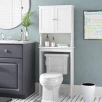 Latitude Run® Jordane 34'' W x 38.5'' H x 7'' D Over-The-Toilet Storage & Reviews | Wayfair Bathroom Shelves, Bathroom Cabinets, Bathroom Organization, Bathroom Furniture, Storage Organization, Furniture Decor, Bathroom Hacks, Storage Ideas, Bathroom Ideas