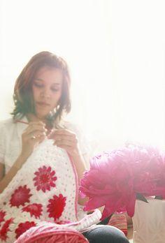 Crochet white red pink