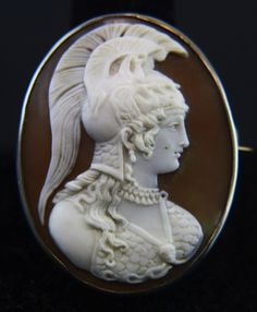Victorian Silver Cameo of Athena (Minerva in Roman) - Greek Goddess of wisdom, courage, civilization, law & justice, strength, the arts, crafts & skill.