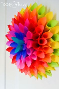 Neon Paper Dahlia - Im Topsy Turvy- so I realize the neon doesnt really go with the fais colors and I already posted the pic of the dahlia made from book pages but the link to it was bad- no t Fun Crafts, Diy And Crafts, Crafts For Kids, Arts And Crafts, Paper Crafts, Diy Paper, Rainbow Room, Rainbow Birthday, Rainbow Paper