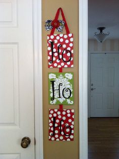Hand Painted Hanging Ho Ho Ho Christmas Canvas by cmb82287 on Etsy, $30.00