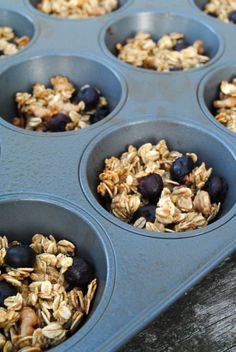 Blueberry Oat Bites. Combine oats, greek yogurt, an egg, applesauce, honey and a little bit of cinnamon. Fold in blueberries. Bake 350 for about 15min. Healthy and super easy to make!