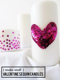 valentine sequin candles diy // stuff steph does