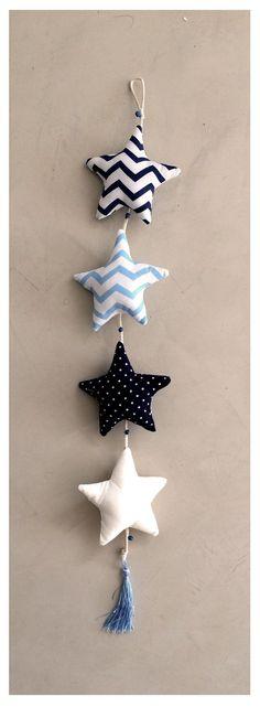 móvil de estrellas azul, celeste y blanco - comprar online