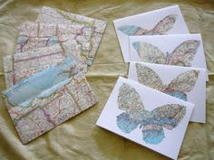 more map note cards with butterflies -- too cute